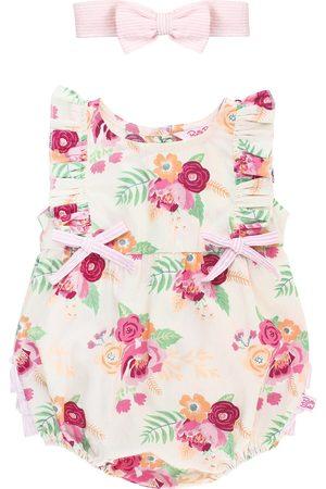 RuffleButts Infant Girl's Darling Bouquets Ruffle Bubble Romper & Head Wrap Set