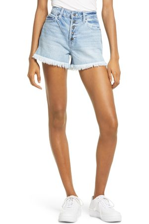 HIDDEN JEANS Women's Button Fly High Waist Frayed Hem Denim Shorts