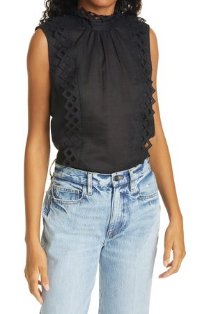 Frame Women's Embroidered High Neck Sleeveless Top