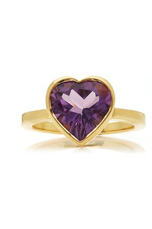 Katey Walker Women's Large Heart 18K Gold and Amethyst Ring - - Moda Operandi