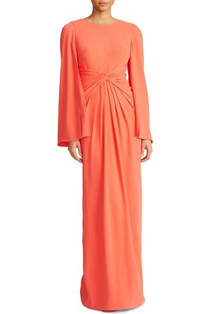 THEIA Women's Cape-Sleeve Twist Gown - Coral - Size 16