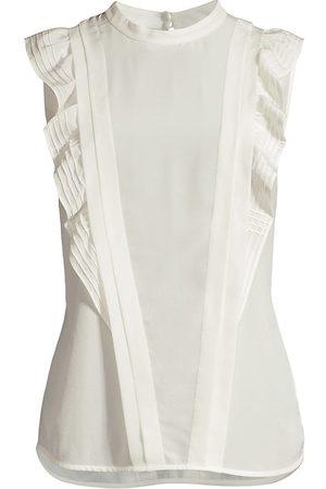 REBECCA TAYLOR Women's Pintuck Silk Blouse - Milk - Size XS