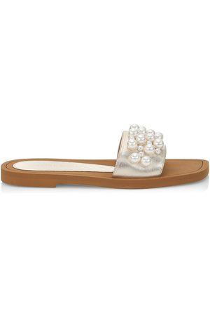 Stuart Weitzman Women Sandals - Women's Goldie Embellished Metallic Slide Sandals - Platino - Size 8