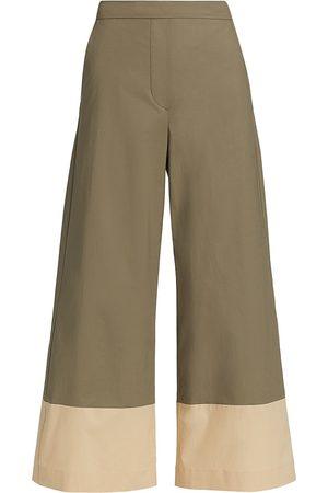 PIAZZA SEMPIONE Poplin Bicolor Wide-Leg Trousers