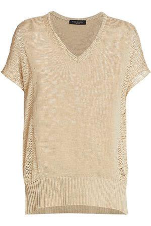 PIAZZA SEMPIONE Women's Drop Stitch Short Sleeve Knit Top - Ecru - Size 12