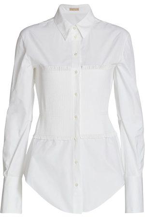Alaïa Women's Smocked Bodice Poplin Button-Down Shirt - Blanc - Size 8