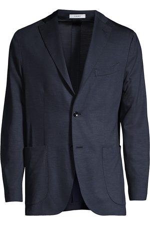 Boglioli Men's Virgin Wool Knit Jersey Sportcoat - Navy - Size 48