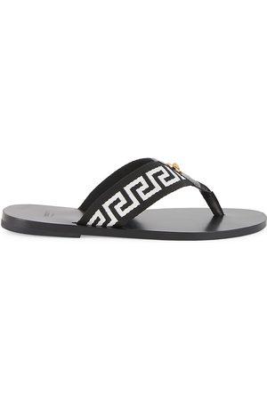 VERSACE Men's Nastro Leather Thong Sandals - Nero Bianco - Size 7