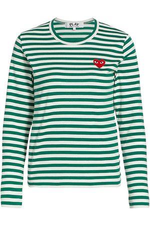 Comme des Garçons Women's Striped Heart Long-Sleeve Shirt - - Size Medium