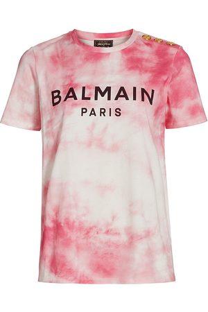 Balmain Women's Button-Trimmed Tie-Dye T-Shirt - Light - Size Small