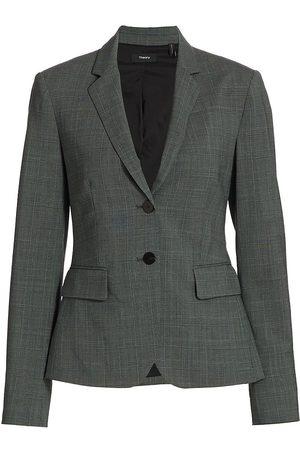 THEORY Women's Carissa Plaid Wool Button-Front Blazer - Grey Multi - Size 0