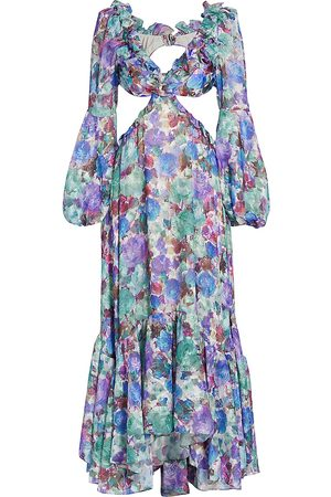PATBO Women's Blossom Cut-Out Beach Dress - Violet - Size Large