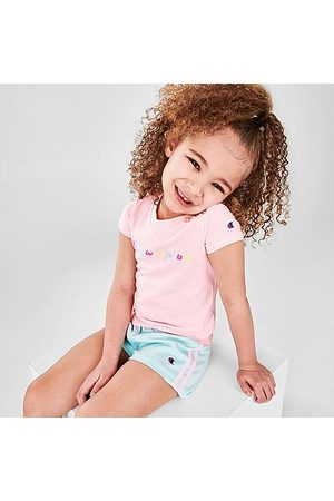 Champion Girls' Toddler Colorblock Script T-Shirt and Shorts Set in / / Candy
