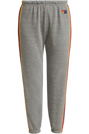AVIATOR NATION Women's Rainbow Stripe Track Pants - Light Grey Neon - Size Small