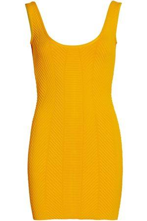 Hervé Léger Women's Ottoman Scoopneck Mini Dress - Saffron - Size XL