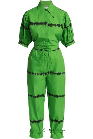 SWF Women's Homecoming Tie-Dye Stripe Puff-Sleeve Jumpsuit - Mansion - Size Large