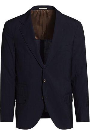 Brunello Cucinelli Men's Wool & Silk Travel Blazer - Navy - Size 38