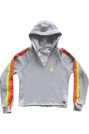 AVIATOR NATION Women Hoodies - Women's Rainbow Stripe Pullover Hoodie - Light Grey Neon - Size Large