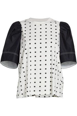 TANYA TAYLOR Women's Elle Puff-Sleeve Polka Dot T-Shirt - Optic Polkadot - Size Small