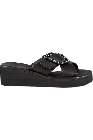Ancient Greek Sandals Women Wedges - Women's Thais Crystal-Embellished Leather Platform Wedge Mules - - Size 10