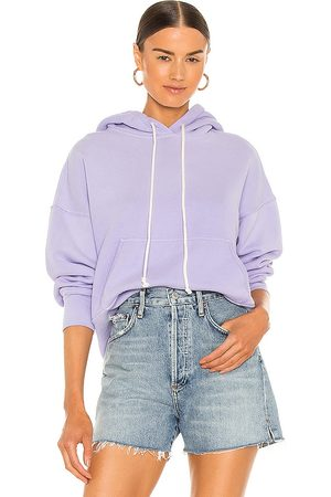 RE/DONE X Hanes Classic Hoodie in Purple.