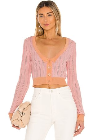 For Love & Lemons Phoebe Pointelle Cardigan in Pink.