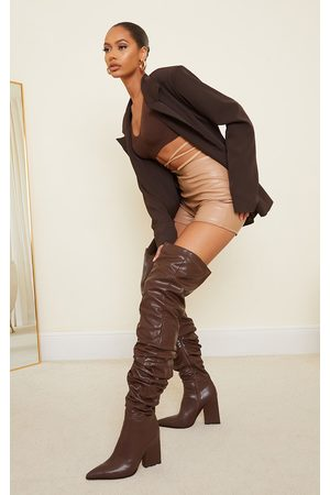 PRETTYLITTLETHING Women Thigh High Boots - Chocolate Western Slouch Over The Knee Boots
