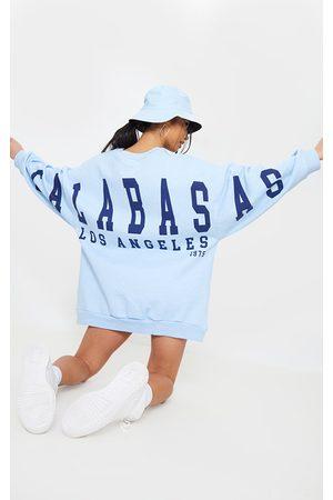 PRETTYLITTLETHING Petite Calabasas Los Angeles Sweatshirt Dress