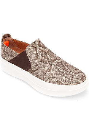 Kenneth Cole Women's Rosette Diamond Perforated Leather Slip On Platform Sneakers