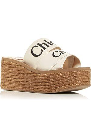 Chloé Women Sandals - Women's Woody Platform Espadrille Slide Sandals