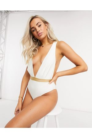 Chelsea Peers Women Swimsuits - Recycled swimsuit with plunge front in and gold
