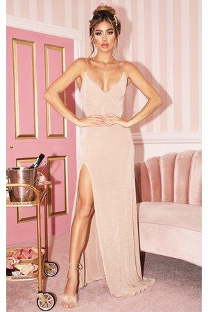 PRETTYLITTLETHING Champagne Strappy Thigh Split Maxi Dress