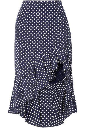 Michael Kors Women Midi Skirts - Woman Asymmetric Ruffled Polka-dot Silk-crepe Skirt Navy Size 4