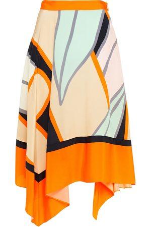 Diane von Furstenberg Woman Madeline Asymmetric Printed Silk Crepe De Chine Skirt Pastel Size 10