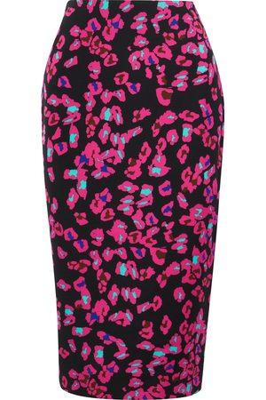Diane von Furstenberg Women Printed Skirts - Woman Kara Floral-print Cady Pencil Skirt Magenta Size 10