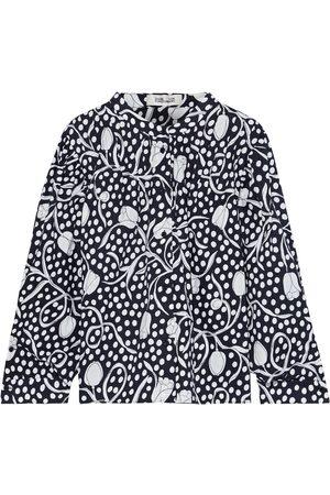 Diane von Furstenberg Women Blouses - Woman Britton Gathered Printed Cotton-poplin Blouse Midnight Size 14