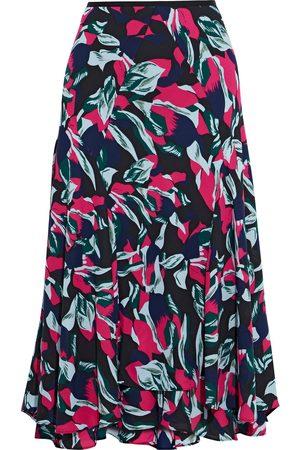 Diane von Furstenberg Women Printed Skirts - Woman Debra Fluted Printed Crepe Midi Skirt Size L