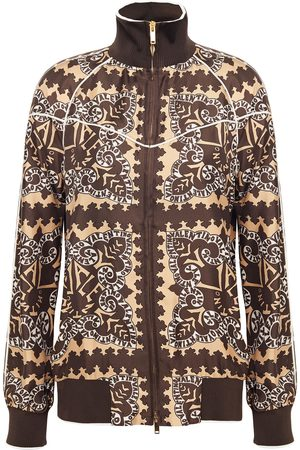 VALENTINO Women Bomber Jackets - Woman Printed Silk-twill Bomber Jacket Chocolate Size 2