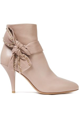 VALENTINO GARAVANI Women Ankle Boots - Woman Studded Bow-embellished Leather Ankle Boots Blush Size 39