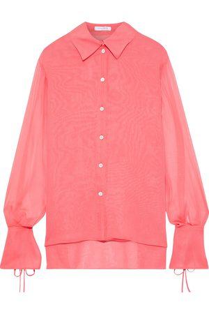 Carolina Herrera Woman Tie-detailed Silk-chiffon Shirt Coral Size 10