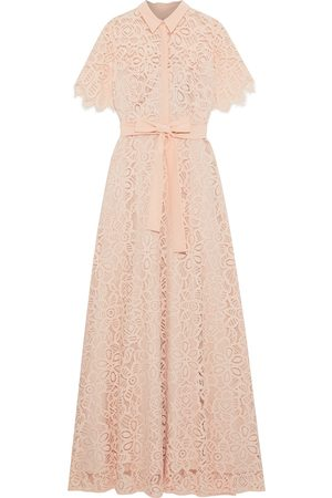 LELA ROSE Woman Belted Crepe De Chine-trimmed Corded Lace Gown Baby Size 6
