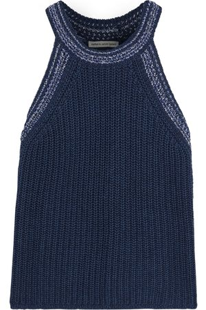 AUTUMN CASHMERE Woman Marled Cotton Top Navy Size L