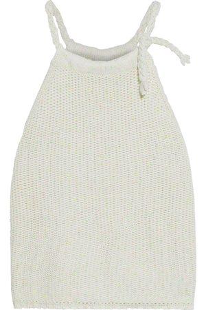 AUTUMN CASHMERE Women Tops - Woman Braid-trimmed Donegal Cotton-blend Top Ivory Size L