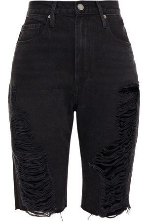 Frame Women Bermudas - Woman Le Vintage Bermuda Distressed Denim Shorts Size 23