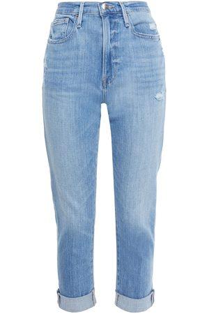 Frame Woman Le Beau Crop Distressed Slim Boyfriend Jeans Light Denim Size 28