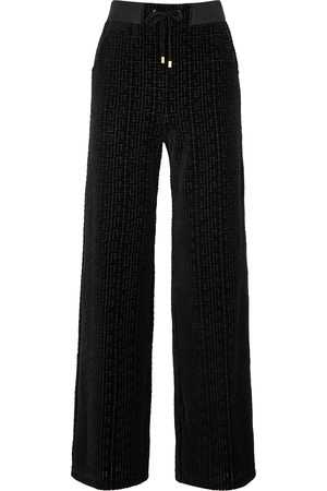 Balmain Women Sweatpants - Monogrammed velvet sweatpants