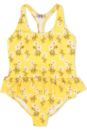 Nº21 Floral-print ruffled swimsuit
