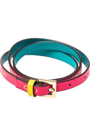 CH Carolina Herrera Printed Leather Triple Wrap Bracelet