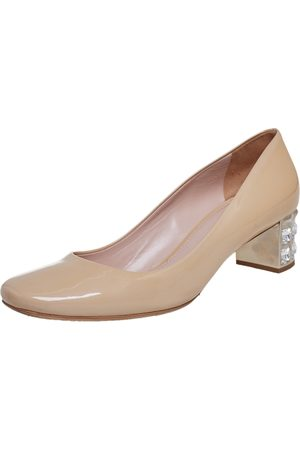 Miu Miu Patent Leather Embellished Heel Pumps Size 40.5