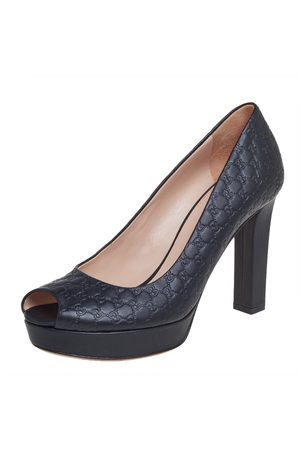 Gucci Microssima Leather Peep Toe Platform Pumps Size 37